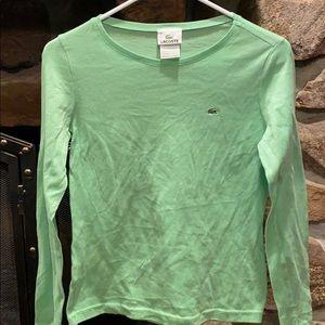 Lime green long sleeve Lacoste shirt